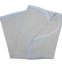 Sippy's Babes White/Grey and Blue Stripe Blanket