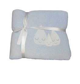 Tutto Piccolo BABY BLANKET WITH MOONFACE SKY BLUE