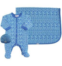 Coccoli Cotton Blanket Blue Zig Zag
