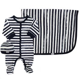 Coccoli Cotton Blanket Navy Striped