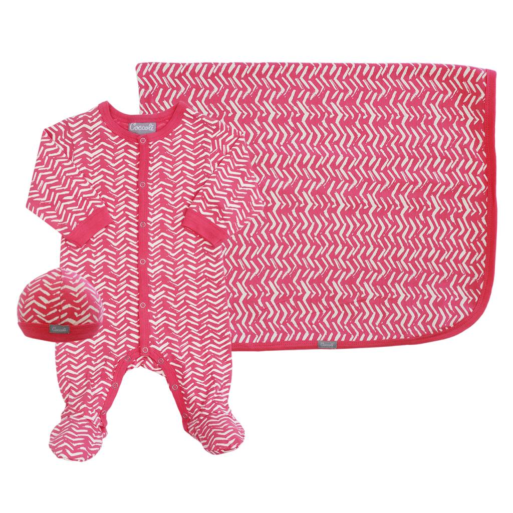 Coccoli Cotton Blanket Pink Zig Zag