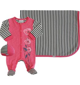 Coccoli Cotton Blanket Pink/Grey Stripe