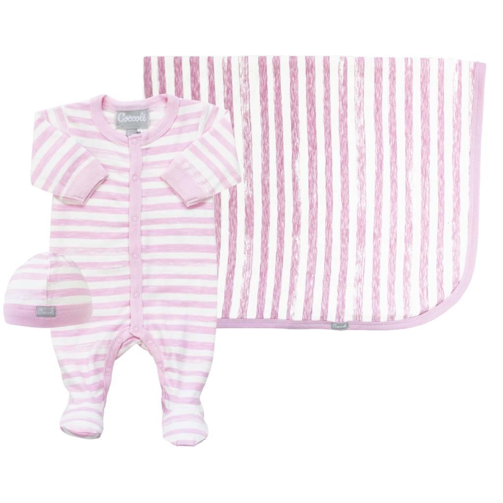 Coccoli Cotton Cap Pink Striped