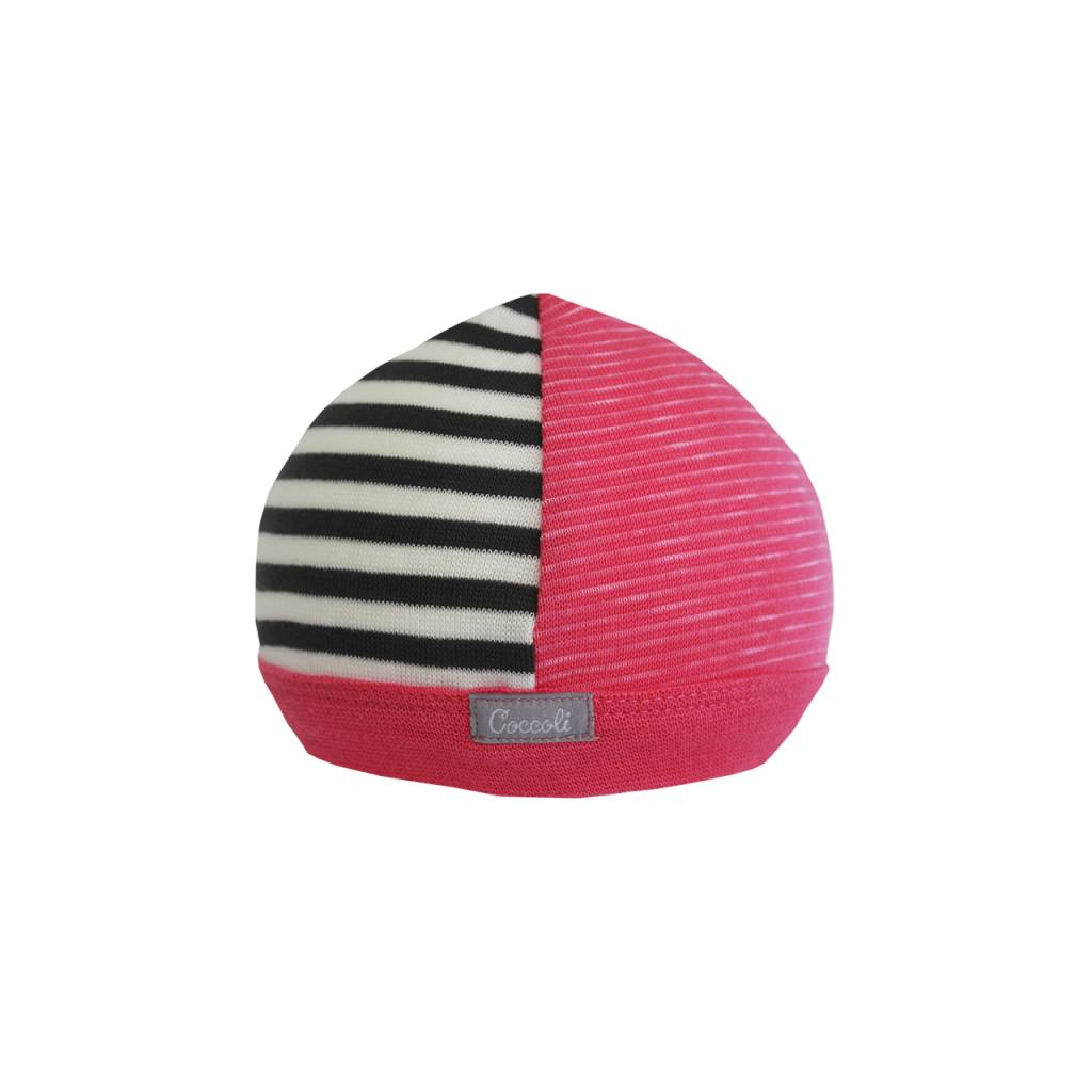 Coccoli Cotton Cap Pink/Grey Stripe