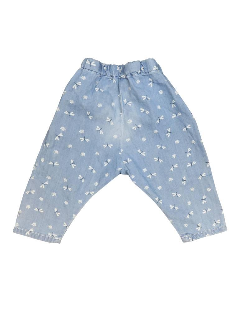 Boboli Girls Denim Pants W/Dragonflies