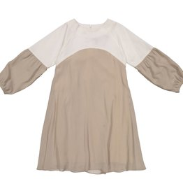 EURO CLUB COLLECTIONS OVERSIZED  CREPE DRESS WITH TAUPE