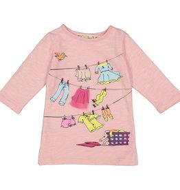 Teela T-Shirt Girls Laundry Print Baby Pink