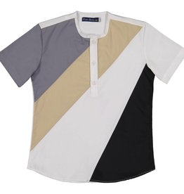 EURO CLUB COLLECTIONS COLOR  BLOCKING COLLARLESS GREY