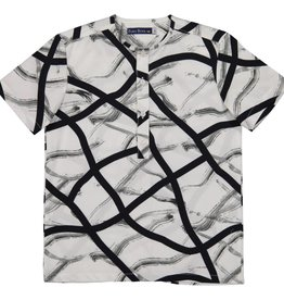 EURO CLUB COLLECTIONS COLLARLESS  SHIRT WITH ALL OVER BLACK