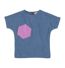 Teela Denim Boys Metallic Shapes Top Light Denim