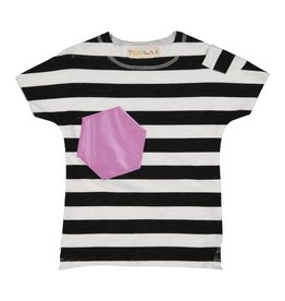 Teela Boys T-Shirt Stripes with Metallic Patch Purple