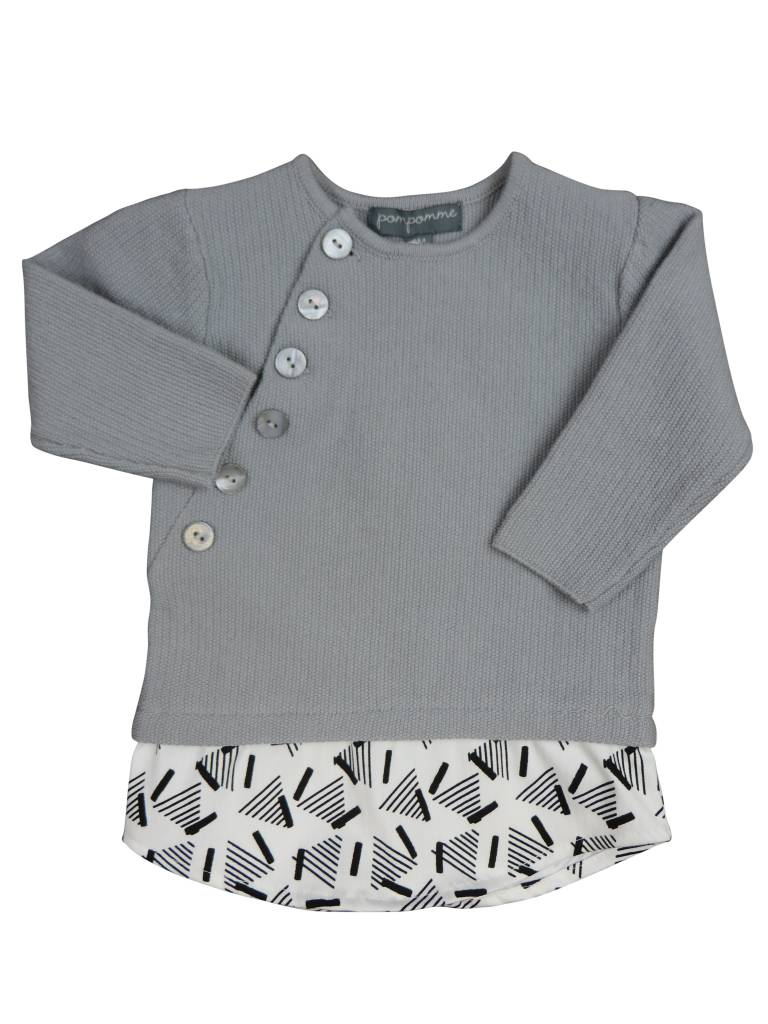 pompomme BG Side Buttoning and Shirt Top Grey/White/Blue