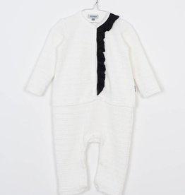 MOTORETA Ruffled Jumpsuit White Textured