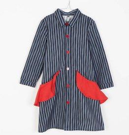 MOTORETA Nora Dress Blue & Black Stripes