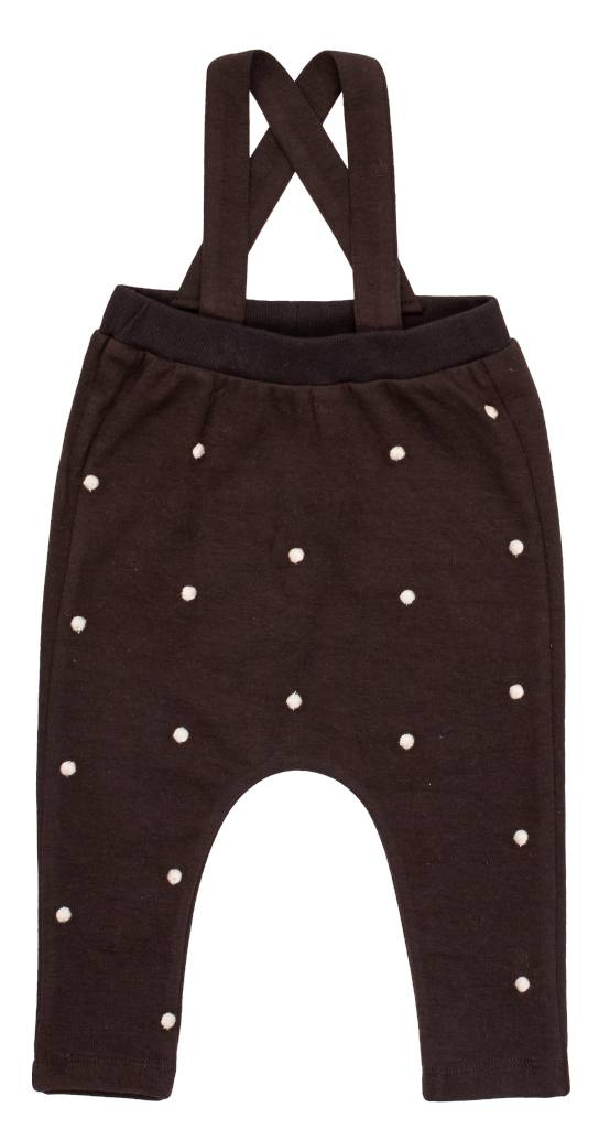 pompomme Baby High Waisted Pants With Embroidery Black