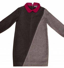 pompomme Girl Color Block Dress Charcoal/Grey/Fushia