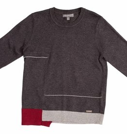 pompomme Boy Colorblock Rib Sweater Charcoal/Grey/Beetroot