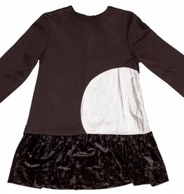 pompomme GIrl Dress With Metalic Circle Black/Silver