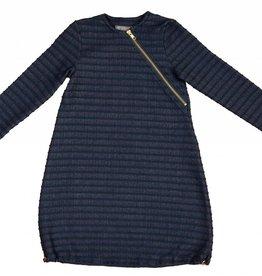 pompomme GIRL DIAGONAL ZIP DRESS NAVY/GREEN