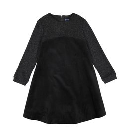 EURO CLUB COLLECTIONS VELOUR PLEATED DRESS WITH BLACK