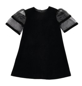 EURO CLUB COLLECTIONS WOOL DRESS WITH SHEER SLEEVES BLACK