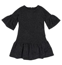 EURO CLUB COLLECTIONS DRESS WITH PLEATED FRILL AND DROPPED BLUE GLITTER