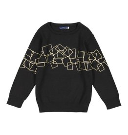 EURO CLUB COLLECTIONS CREW NECK SWEATER WITH GOLDEN FOIL BLACK