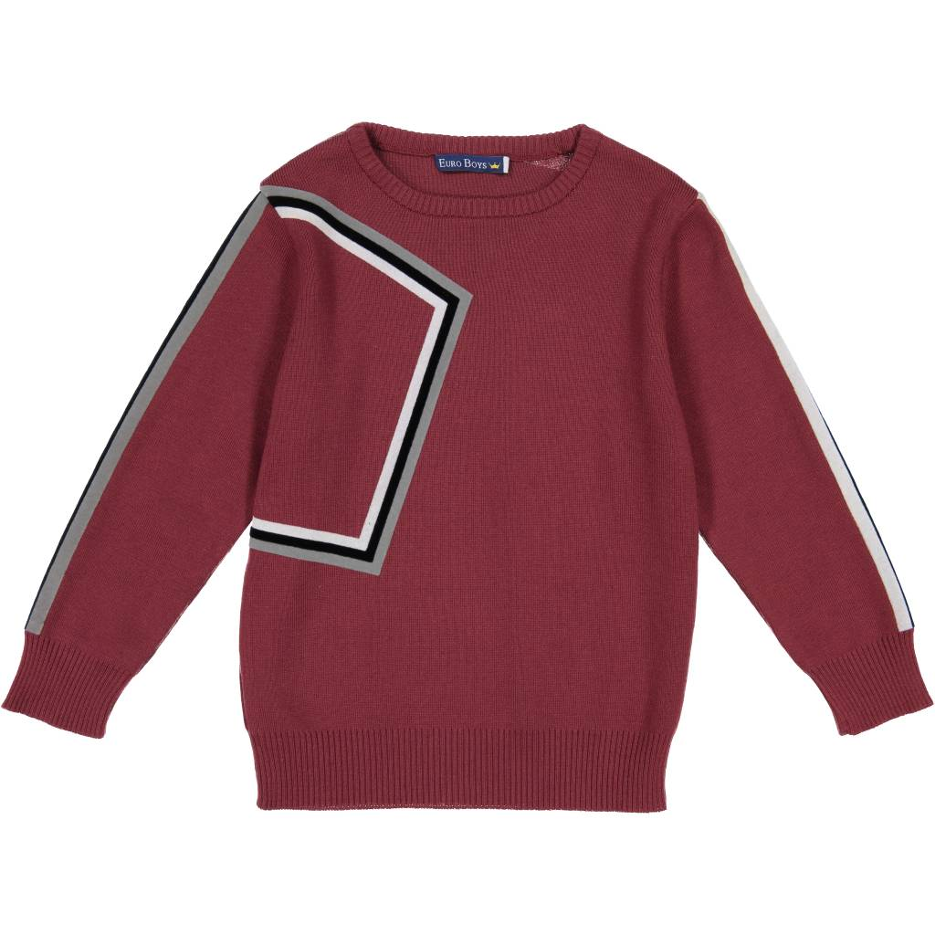 EURO CLUB COLLECTIONS CREW NECK SWEATER WITH GEOMETRIC WINE