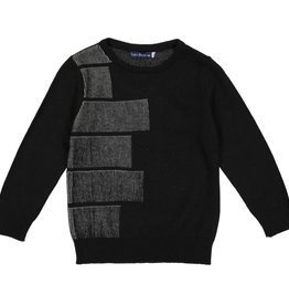 EURO CLUB COLLECTIONS CREW NECK SWEATER WITH JACQUARD BLACK