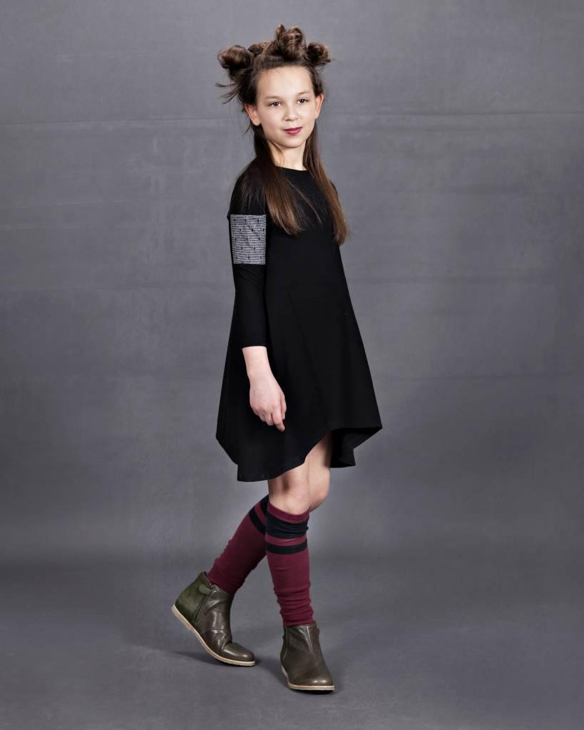 Whitlow & Hawkins Argyle Sleeve Pocket Dress Black