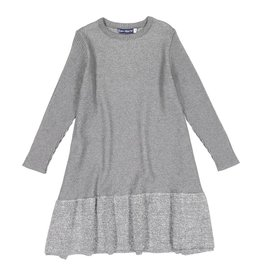 EURO CLUB COLLECTIONS Knitted Dress with Ribbed Sleeves and Foil Border Print Grey