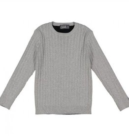 Belati Two Tone Ribbed Sweater Light Grey