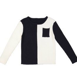 Belati Color Blocking Ribbed Sweater with Pocket Black