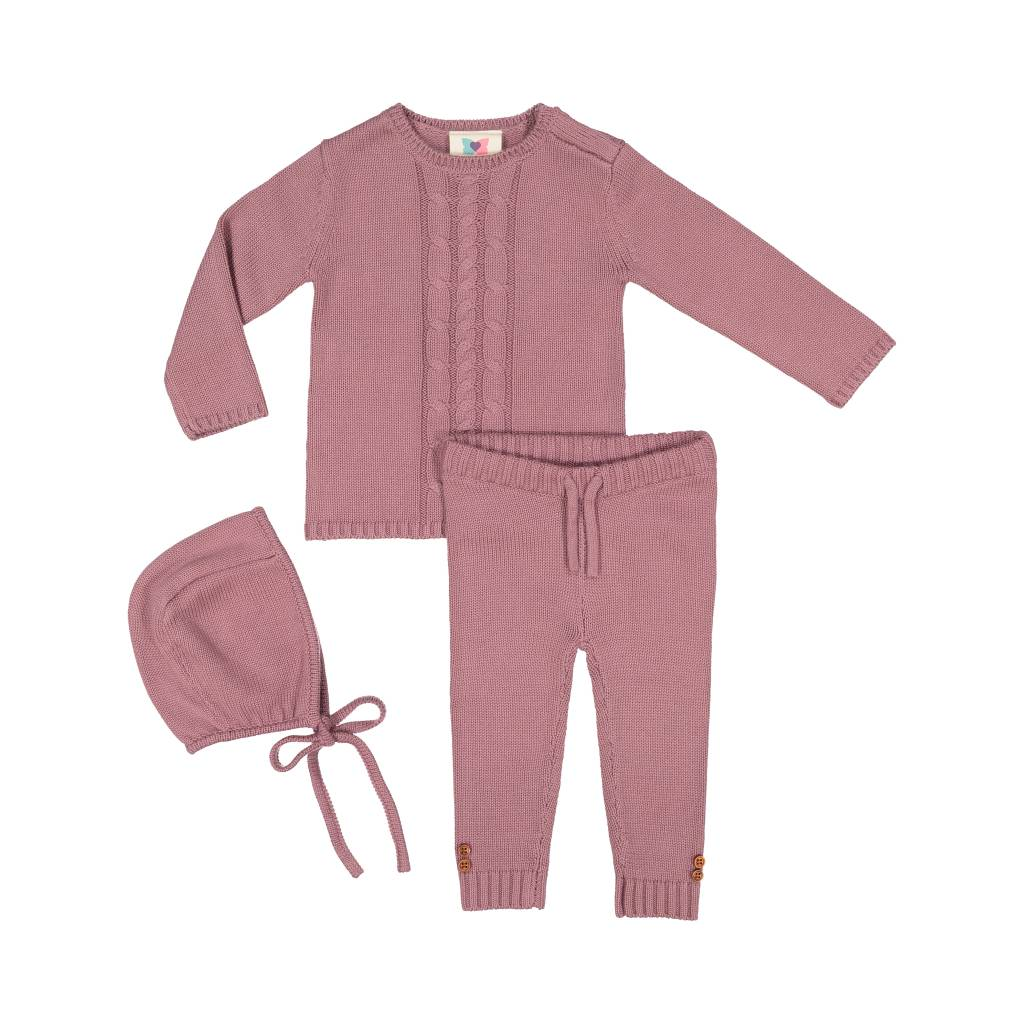 Teela BABY Cable Knit 3 Piece Set Lilac