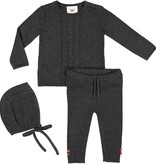 Teela BABY Cable Knit 3 Piece Set Charcoal