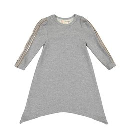 Teela RIA Assymetrical Dress with Metallic Sleeve Detail Charcoal Grey