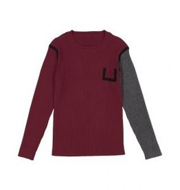 Belati Two Tone Ribbed Sweater with Black Accent Burgundy