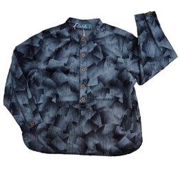 Belati Printed Shirt with Flat Collar and Front Placket Grey