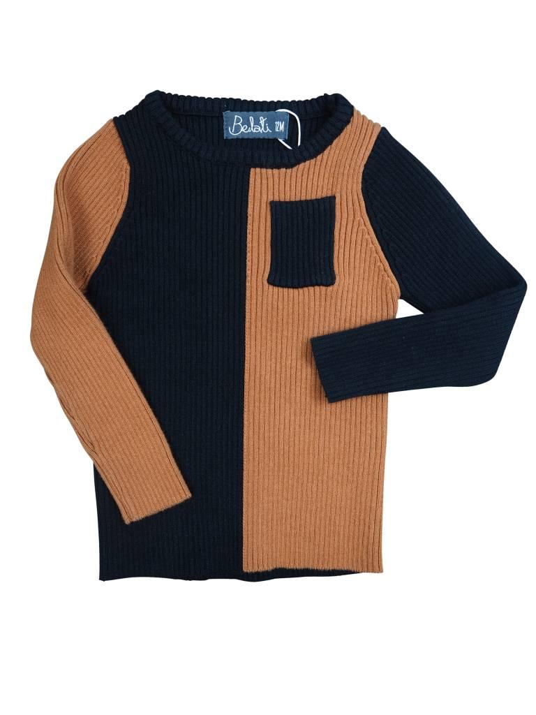 Belati Color Blocking Ribbed Sweater with Pocket Caramel