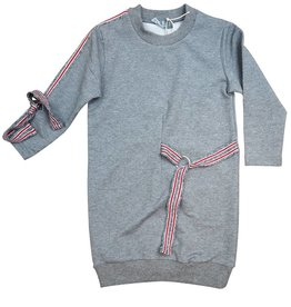 Belati Sweatshirt Dress with Striped Ribbon Accenting Grey