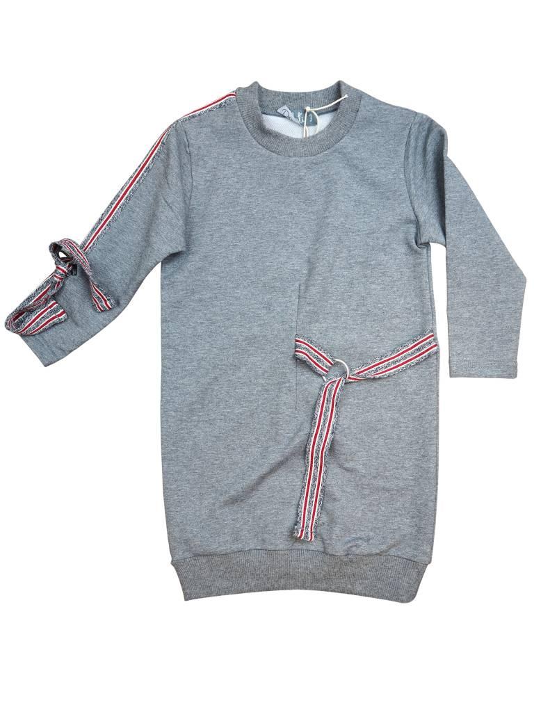 Belati Sweatshirt Dress with Striped Ribbon Accenting Grey