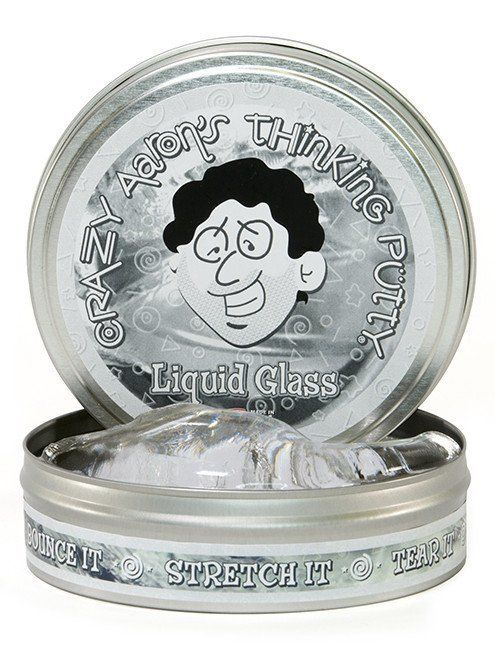 "Crazy Aaron's Thinking Putty Crazy Aaron's 4"" Tin - Clear - Liquid Glass"