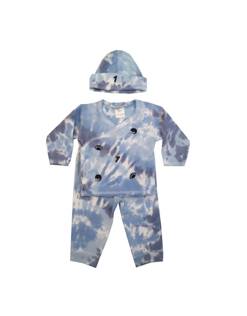 Baby Steps Blue Tie Dye Football 3-Pc Set