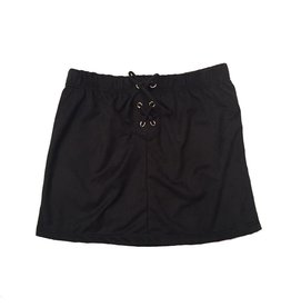 Sofi Suede Black Lace Up Skirt