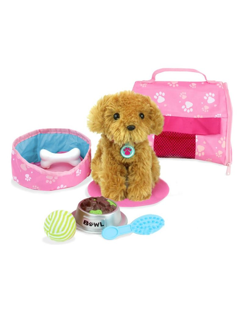Doll Plush Puppy Carrier & Accessory Set