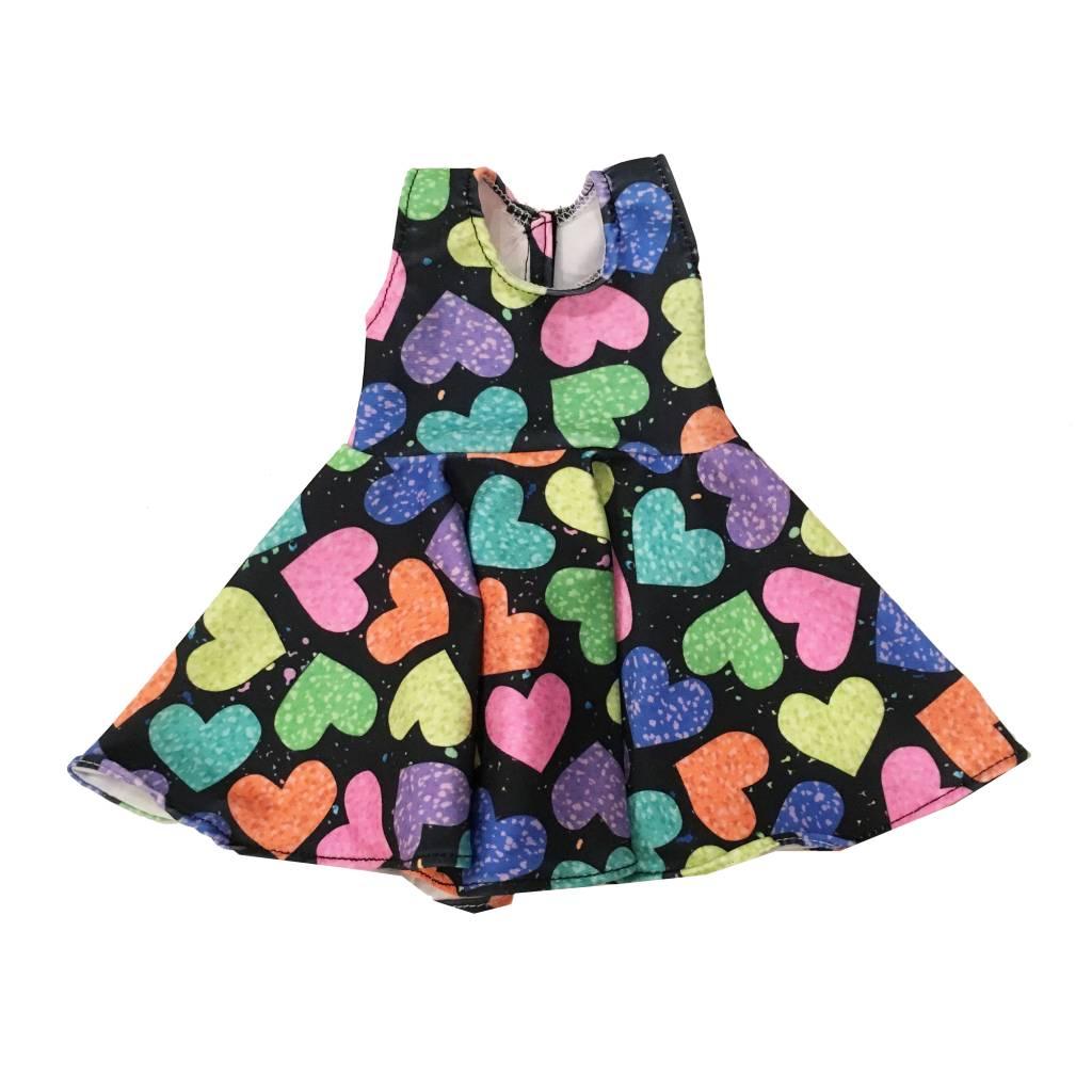 Doll Dress Hearts on Black