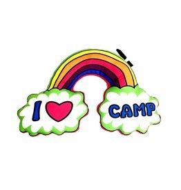 Confetti Rainbow I Love Camp Autograph Pillow
