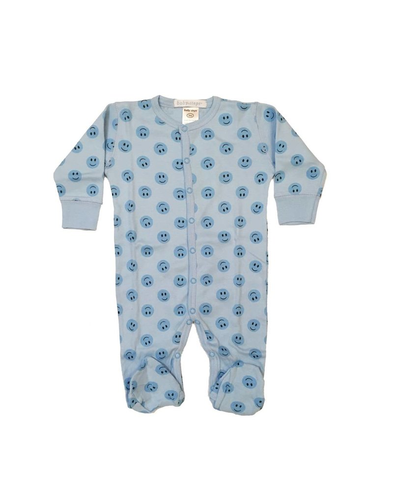 Baby Steps Blue Smiley Footie