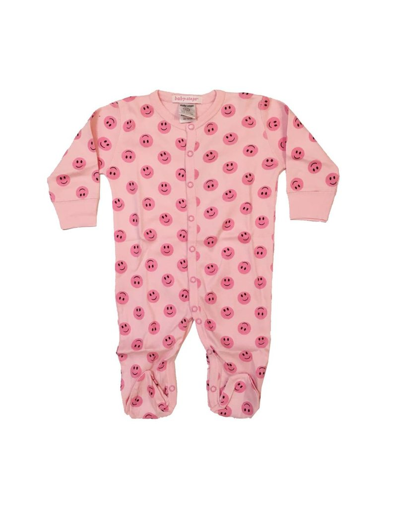 Baby Steps Pink Smiley Footie
