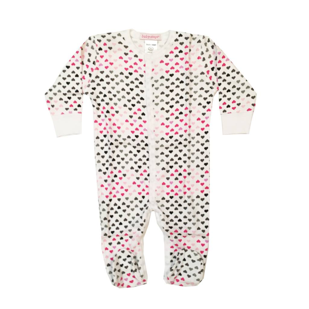 Baby Steps Pink Chromatic Hearts Footie
